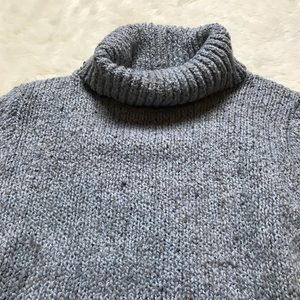 Relais Knitware Sweaters - Relais Turtleneck Grey Crop Marbled Sweater